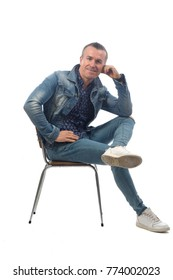 man sitting on a chair with white background