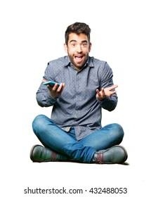 man sitting on the floor with mobile