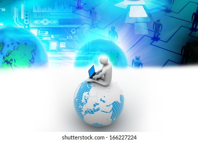 man sitting on globe with the Laptop. On Top of the World.