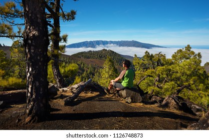 Man sitting on the stone watching a volcanic landscape of pine forest with a Caldera de Taburiente on background, island of La Palma, Canary Islands, Spain