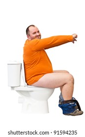 man sitting on toilet with uplifted hands