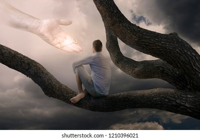 Man Sitting on Tree Branch and God Hand with Key for Unlocking Destiny-Christian Concept
