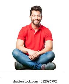 man sitting smiling