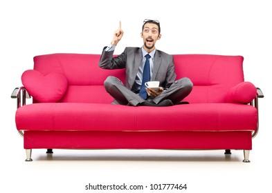Man sitting in the sofa