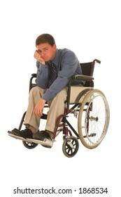 Man sitting in wheelchair.