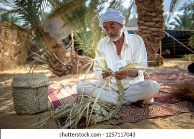 A man from Siwa manufactures products from palm waste, Siwa, Egypt November 2012