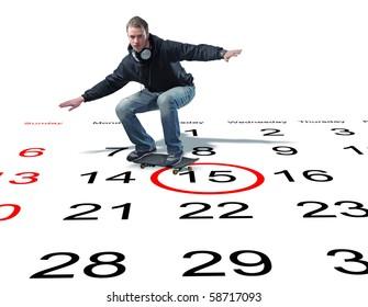 man with skateboard on 3d calendar
