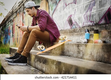 Man Skateboarder Lifestyle Relax Hipster Concept