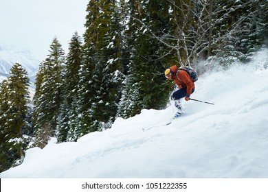 man skier rides freeride on powder snow in the forest