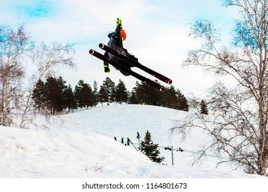 the man is skiing