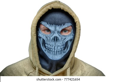 Man in skull mask and hood, maybe Halloween costume (robber, burglar, snatcher, terrorist or evil anonymous) with white back. Isolated image