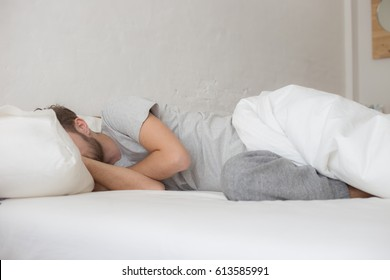 Man sleep on bed cannot wake up