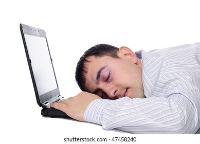 Man sleep on laptop isolated on white background