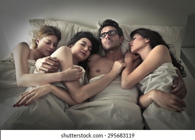 Man sleeping with three girls
