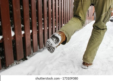 Man slipping on the snow