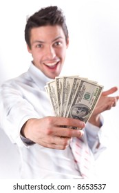 man smiles and stretches money