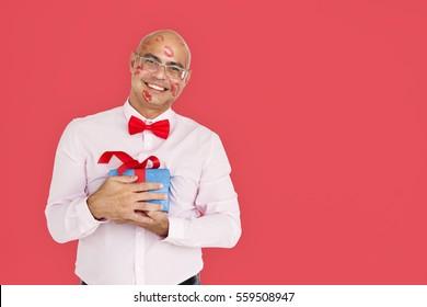 Man Smiling Happiness Lipstick Kiss Gift Present Portrait