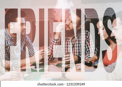 Man Smoking Cuban Cigar. Best Friends Play in Poker. Gambler Player . Guys Playing Cards with Alcoholic Beverages. Pokers Friends Sitting and Drink. People, Waiting, Thinks and Risk.