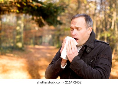 Man is sneezing