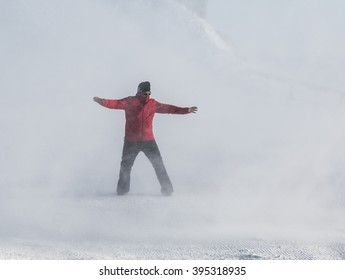 Man in Snow Storm