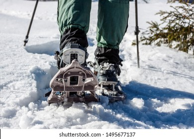 Man in snowshoes with trekking poles. Equipment for walking on snow close up. Journey through the mountains in winter. Shoes for travel.