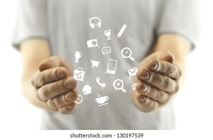 man with social media icon on white background