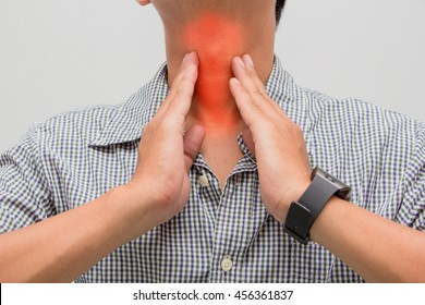 Man with sore neck and Tonsillitis