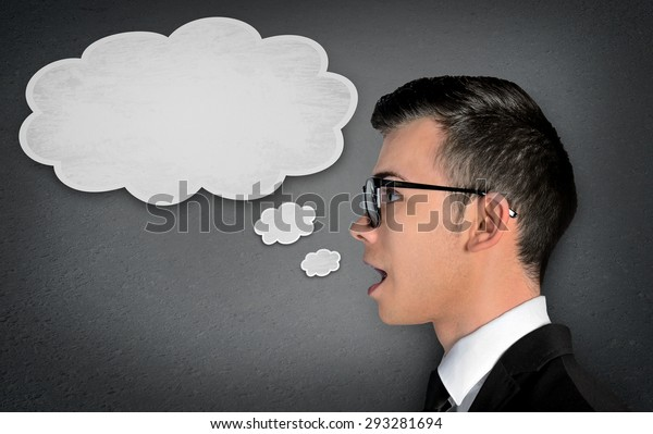 Man speaking in text bubble message