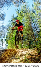 Man  speeding downhill on the mountain bike. Drop and jump in the forest on a single track.