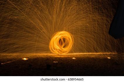 The Man Spinning Fire Show On Samet Island,Thailand