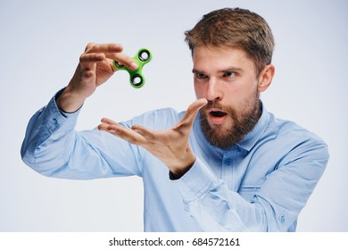 The man spins the spinner