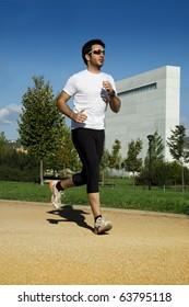 Man in sportswear running in a park