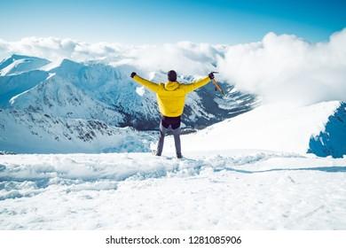 A man spreading his arms. Success concept