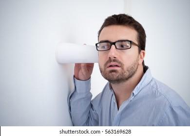 Man spying and listening a discussion