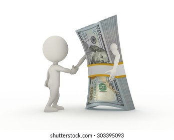 The man and the stack of money shake hands. 3d render on white background