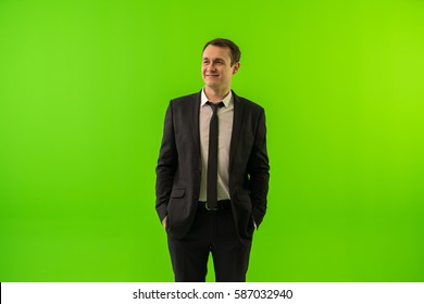 The man stand on the green background