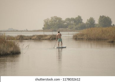 Man stand up paddleboarding on lake. Young man doing watersport on lake. Male tourist in swimwear during summer vacation.