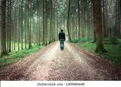 Man standing alone on the forest road in mossy fairytale woods landscape.