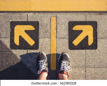 Man Standing Arrow Direction Choice Left and Right
