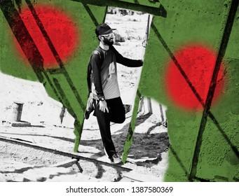 Man standing in a broken metallic door with Bangladeshi flag textures