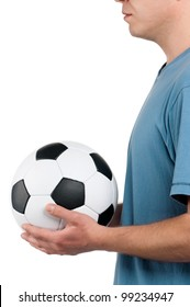 Man standing with classic soccer ball on isolated white background