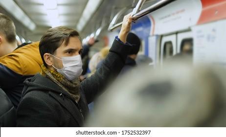 Man Standing. Corona Virus. Face Mask Covid-19. Subway Station. Epidemic Coronavirus Mers. Pandemic Flu. Human Masked 2019-ncov. Train Metro Tube. People Sick. Male Health Care. Smog Air Filter.