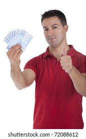 man standing with european money on his hand and making ok sign