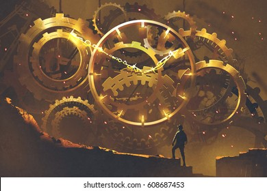 man standing in front of the big golden clockwork,illustration painting