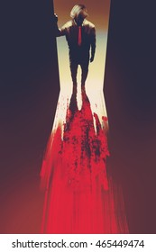 man standing in front of the door,murder concept,illustration painting