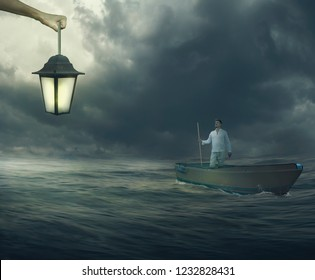 Man Standing on Boat Watching God Hand Holding Light