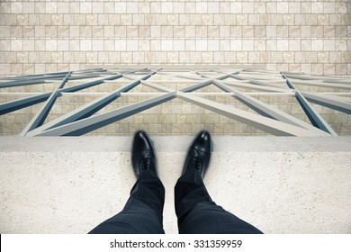 Man standing on the edge of the roof