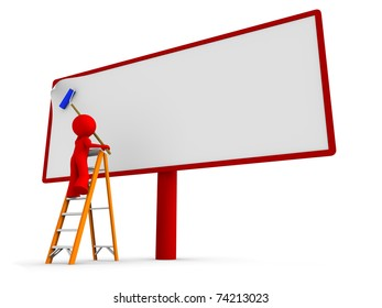 Man standing on a ladder, putting a new, blank poster to a billboard. Clipping path cutting the worker with a ladder.