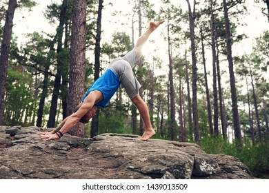 Man standing on a rocky outcrop in a pine forest doing the one legged downward facing dog pose while practicing yoga