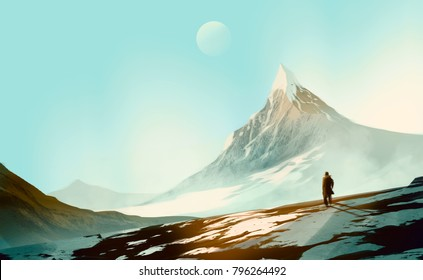 a man standing on the snow mountain, peaceful, solitude concept.